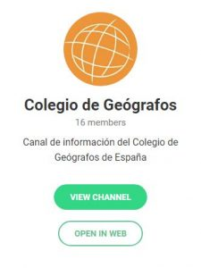 Canal de Telegram del Colegio de Geógrafos