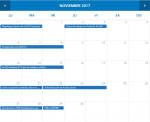 Calendario formativo Esri noviembre 2017