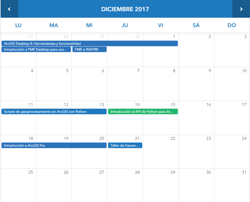 Cursos ESRI - Oferta formativa para el mes de Diciembre
