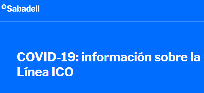 Banc Sabadell financiación COVID 19 Líneas ICO