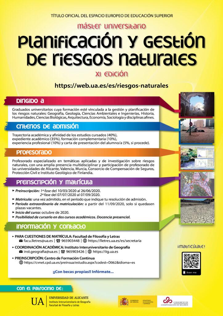Máster en Planificación y Gestión de Riesgos Naturales