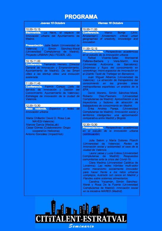 Programa seminario Cititalent - Estrategias, espacios y redes para la innovación urbana