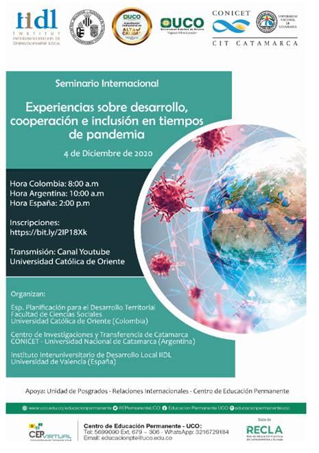 Seminario Internacional Experiencias sobre desarrollo, cooperación e inclusión en tiempos de pandemia