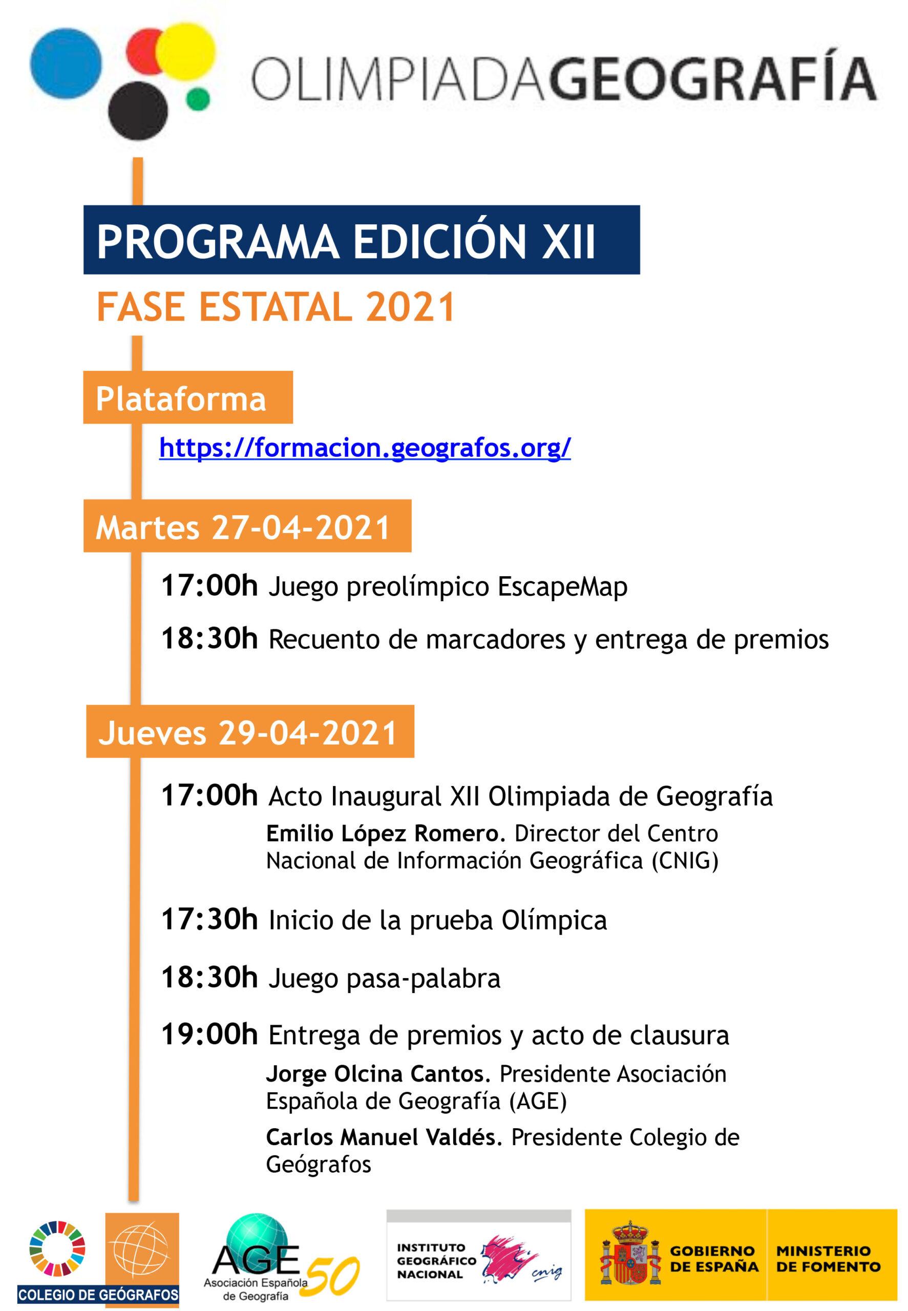 PROGRAMA de la XII Olimpiada de Geografía - FASE ESTATAL 2021