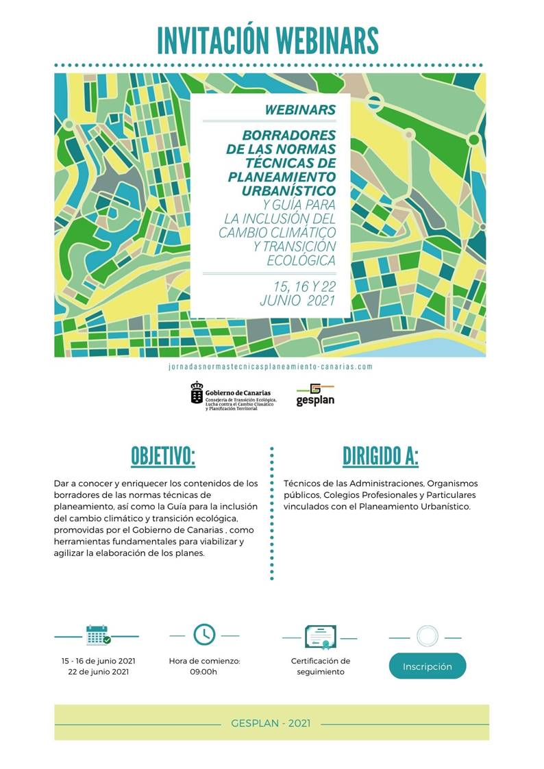 Webinars Borradores de las Normas Técnicas de Planeamiento Urbanístico y Guía para la Inclusión del Cambio Climático y Transición Ecológica